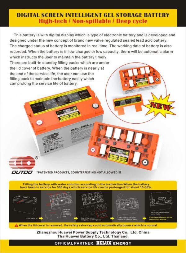 OUTDO iGel 100Ah-12V Battery